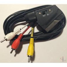 Шнур Scart-3RCA 1.8m с переключателем