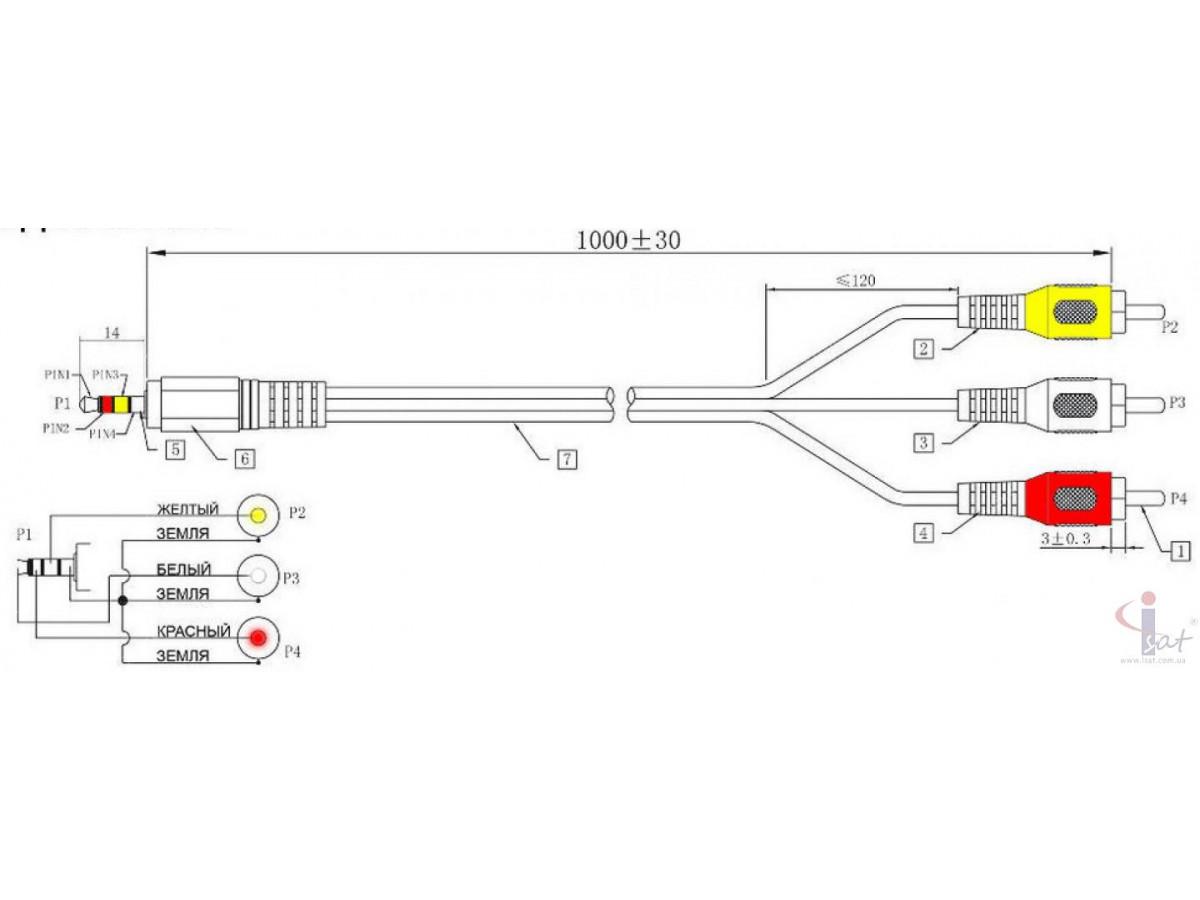 Шнур MiniJack-3RCA 1.2m
