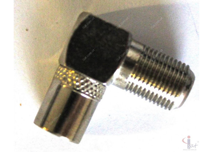 Разъем ТВ штекер угловой (F папа)