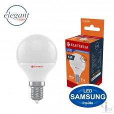 Лампа Electrum LED сфер. D45  6W PA LB-33 Elegant Е14 4000 теплый