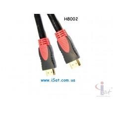 HDMI шнур 30AWG H8002 черн.красный 1.5м.