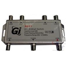Коммутатор DiSEqC 6x1 GI A-611