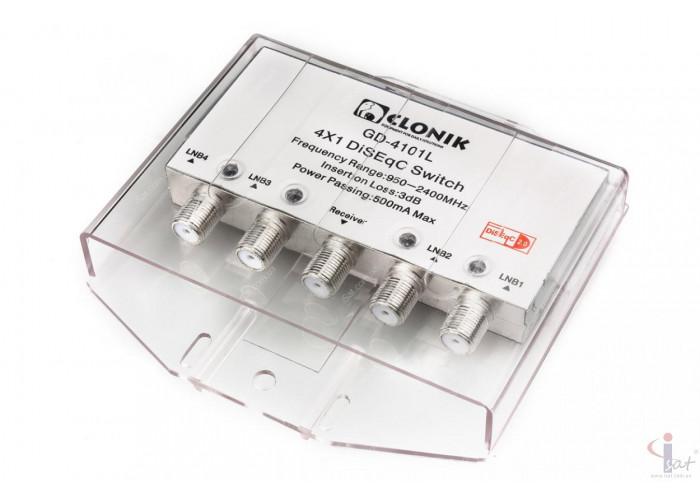 Коммутатор DiSEqC 4x1 Clonik GD-4101L в кожухе светодиод