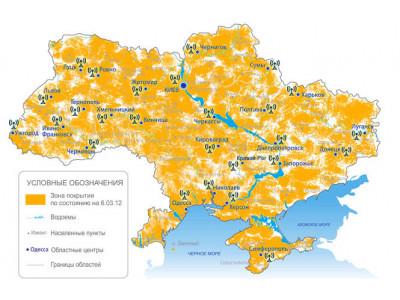 Территория покрытия Т2 сигнала в Украине